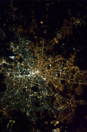 Aerial photo of Berlin by Chris Hadfield and CSA/NASA.