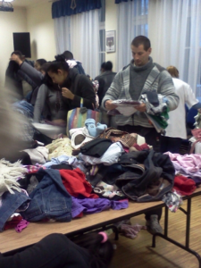 Clothing provided for refugees at the Salvation Army.